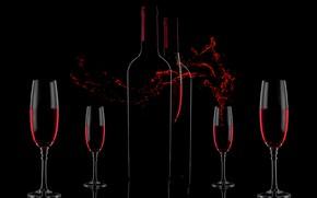 Картинка вино, всплеск, фужеры, Wine&Love