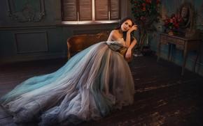 Картинка взгляд, девушка, поза, фото, комната, модель, платье, красивая