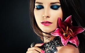 Картинка макияж, украшение, девушка, лицо, лилия
