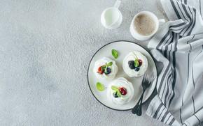 Картинка ягоды, кофе, сливки, пирожное, фрукты, крем, безе