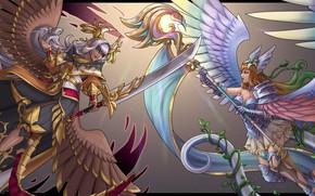 Картинка девушка, крылья, меч, воин, жезл, Jeanne d'Arc, Dragalia, Marishiten
