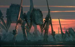 Картинка машины, роботы, waspsnet, Massive War Machines, Imperial Spiders AT-ATs