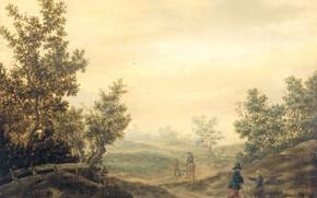 Картинка пейзаж, масло, картина, Claes van Beresteyn, 1684, Дорога в дюнах, Клаес ван Берестейн