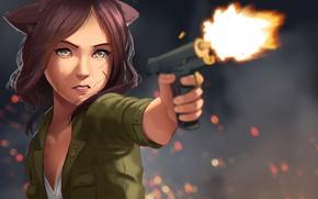 Картинка взгляд, девушка, пистолет