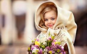 Картинка улыбка, букет, весна, капюшон, девочка, ребёнок, барышня, Оксана Митина