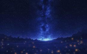 Картинка небо, деревья, ночь, природа, светлячки, млечный путь
