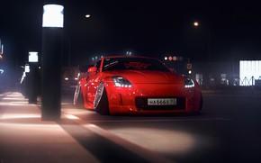 Картинка Красный, Авто, Ночь, Машина, Тюнинг, Nissan, Red, Nissan 350Z, Car, Auto, Sunrise, Tuning, 666, Transport …