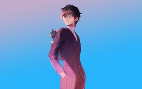 Картинка кот, фон, очки, парень, пиджак, Persona 5, Персона