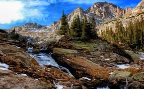 Картинка деревья, пейзаж, горы, природа, водопад, ели, Йосемити, национальный парк, заповедник