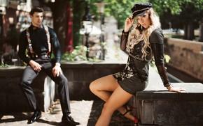 Картинка поза, стиль, ноги, модель, платье, парень, фуражка, боке, Olya Alessandra, Andreas-Joachim Lins