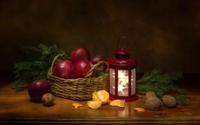 Картинка ветки, яблоки, ель, фонарь, фрукты, орехи, натюрморт, корзинка, мандарин, Феденкова Татьяна