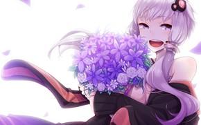Картинка девушка, букет, Vocaloid, Вокалоид, букет из роз