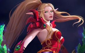 Картинка девушка, блондинка, эльфийка, World Of WarCraft