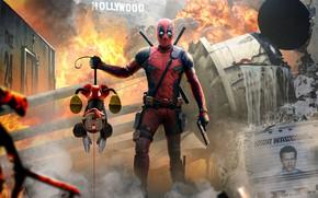 Картинка Рисунок, Город, Голливуд, Пистолет, Огонь, Взрыв, Меч, Костюм, Hollywood, Герой, Маска, Разрушения, Мечи, Супергерой, Арт, …