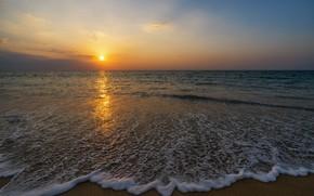 Картинка песок, море, волны, пляж, лето, закат, summer, beach, sea, sunset, seascape, beautiful, sand, wave