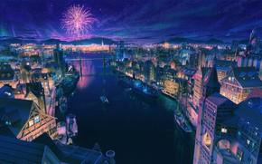 Картинка Дома, Ночь, Город, Звезды, Салют, Лодки, City, Корабли, Красиво, Арт, Stars, Art, Night, Фейерверк, Красивый …