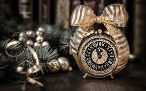 Картинка ретро, игрушки, новый год, будильник, лента, Anya Ivanova