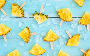 Картинка фрукт, ice, summer, ананас, wood, ломтики, fruit, pineapple, slice