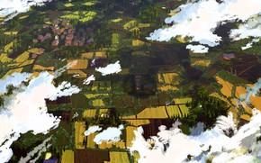 Картинка Облака, Поле, Город, Вид, Деревня, Земля, City, Поля, Clouds, Art, Вид сверху, View, Land, Village, …