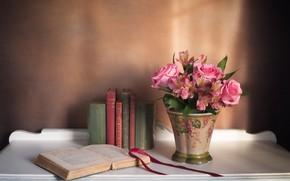 Картинка книги, розы, букет, альстромерия