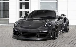 Картинка car, машина, фары, здание, Porsche, карбон, спорткар, black, спереди, Porsche 911, carbon, тонировка, карбоновый кузов, …