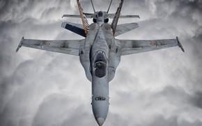 Картинка Истребитель, Пилот, Облока, F/A-18 Hornet, Кокпит, ВВС Испании, ПТБ