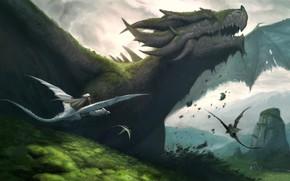 Картинка fantasy, horns, landscape, nature, wings, digital art, artwork, fantasy art, creature, Dragons