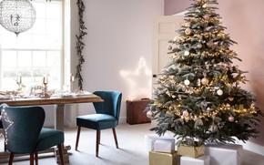 Картинка украшения, елка, Новый Год, Рождество, подарки, праздничный стол