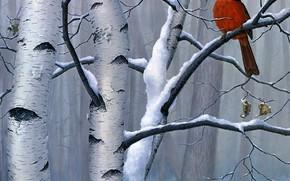 Картинка зима, лес, снег, ветки, красный, природа, дерево, птица, рисунок, картина, арт, сухие, береза, листочки, живопись, …