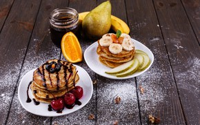Картинка апельсин, еда, завтрак, банан, джем, chocolate, pears, breakfast, pancakes, оладьи, cherries, bananas, Tasty