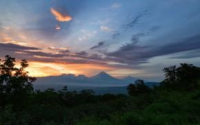 Картинка небо, деревья, закат, горы, природа, Максин Александр