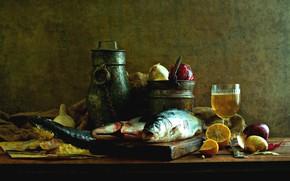 Картинка лимон, бокал, рыба, лук