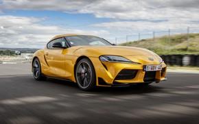 Картинка облака, жёлтый, купе, Toyota, трек, Supra, пятое поколение, mk5, двухместное, 2019, GR Supra, A90, Gazoo …