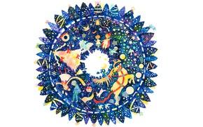 Картинка снежинки, дети, подарки, белый фон, ёлки, венок, звездочки, ёлочные украшения, олень Санты Клауса, круг вечности, …
