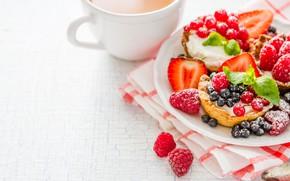 Картинка сахарная пудра, тарталетки, кофе, ягоды, крем, пирожное