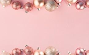Картинка украшения, шары, Новый Год, Рождество, Christmas, розовый фон, balls, pink, New Year, decoration, Merry