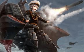 Картинка девушка, оружие, ракета, Azur Lane