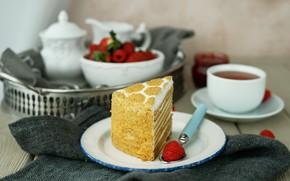 Картинка ягоды, малина, крем, кусок торта