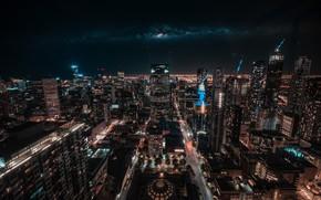 Картинка ночь, город, небоскребы, Австралия, Melbourne, Australia, Мельбурн