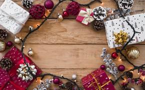 Картинка украшения, Новый Год, Рождество, подарки, гирлянда, Christmas, wood, New Year, gift, decoration, Merry