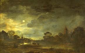 Картинка масло, картина, Пейзаж в Лунном Свете, Арт ван дер Нер, Aert van der Neer, 1677