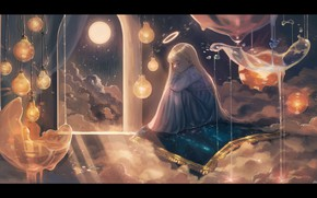 Картинка облака, ночь, луна, ковер, фэнтези, спит, девочка, нимб