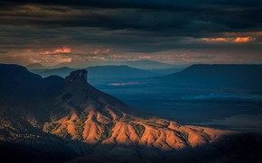Картинка небо, облака, закат, горы, тучи, природа, скалы, вечер, Венесуэла