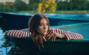 Картинка девушка, лицо, настроение, волосы, лодки, руки, Настя, Анастасия Добровольская