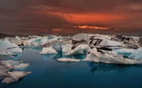 Картинка лёд, зарево, Исландия, ледниковое озеро, Йёкюльсаурлоун