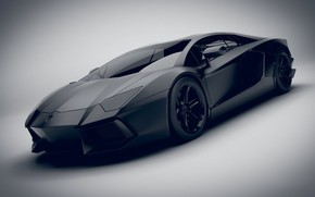 Картинка Авто, Черный, Машина, Render, Black, Aventador, Lamborghini Aventador, Матовый, Transport & Vehicles, Emil Klingberg, by …