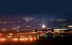 Картинка огни, полоса, самолёт, взлёт