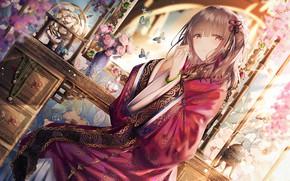 Картинка девушка, арт, Chinese Dress
