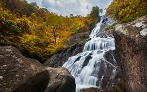 Картинка лес, пейзаж, река, скалы, водопад, forest, river, landscape, beautiful, autumn, waterfall