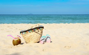 Картинка песок, море, пляж, лето, небо, кокос, summer, beach, sea, sand, coconut, vacation, tropical